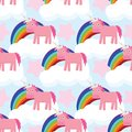 Cute seamless pattern with unicorns