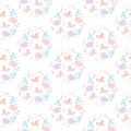 Cute seamless pattern with unicorns, flowers, clouds, stars, hearts and sweets.