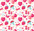 Cute seamless pattern Valentines day with strawberries, heart, flower, butterfly, ribbon Royalty Free Stock Photo
