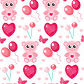 Cute seamless pattern Valentines day with teddy bear, balls, hearts. Love, romance, endless background, texture