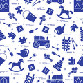 Cute seamless pattern with variety of children`s toys: rocking h