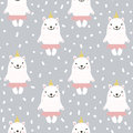 Cute seamless pattern with white baby bear. Childish texture for fabric, textile.Vector Illustration.