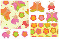Cute seamless patterns and elements for your desig Stock Images