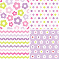 Cute seamless pink and purple background patterns set of retro spring in for baby mothers day easter gift wrapping paper Royalty Free Stock Photography