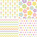 Cute seamless pink and yellow background patterns set of retro in spring colors for baby mothers day easter gift wrapping paper Royalty Free Stock Images