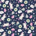 Cute seamless unicorn pattern