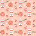 Cute seamless vector pattern background illustration with coffee, donuts, candy cane, stars, snowflakes, lollipop and hearts