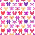 Cute seamless vector pattern of colorful butterfly