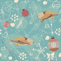 Cute Seamless Winter Pattern with owls and winter doodles. Vector Illustration