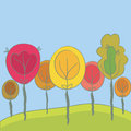 Cute seasonal background with trees Royalty Free Stock Photography