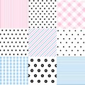 Cute set of Baby seamless patterns with fabric textures