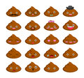 Cute set of cut poop emoticon smileys  on white background. Royalty Free Stock Photo