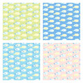 Cute set of four baby seamless vector patterns Royalty Free Stock Photo