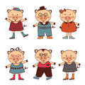 Cute set of pigs characters Stock Images