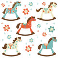 Cute set of rocking horses colorful collection Royalty Free Stock Photography