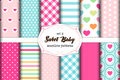 Cute set of scandinavian Sweet Baby seamless patterns with fabric textures