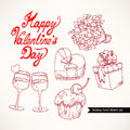 Cute set valentine s day with gifts flowers and glasses of champagne Royalty Free Stock Photos