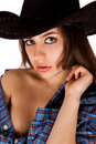 Cute sexy cowgirl in blue shirt isolated Stock Photo