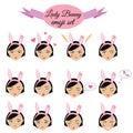 Cute sexy girl with bunny ears emoji set. Lady emoticons, design elements