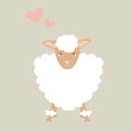 Cute sheep illustration with little pink heart feeling lovely.