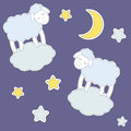 Cute sheep moon and stars vector seamless pattern Royalty Free Stock Photos