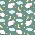 Cute sheep in the night sky with stars moon and clouds seamless pattern background illustration