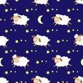 Cute sheep seamless night pattern