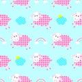 Cute sheep seamless pattern