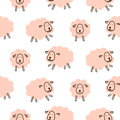 Cute sheeps girlish baby seamless vector pattern.