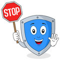 Cute Shield Character Holding Stop Sign