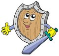Cute shield with sword Royalty Free Stock Photos