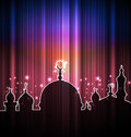 Cute shine card with mosque illustration Stock Photography