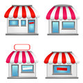 Cute shop icons with red awnings isolated on white Royalty Free Stock Photo