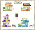 Cute shops set of four colorful eps Stock Image