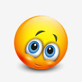 Cute shy emoticon, emoji - vector illustration Royalty Free Stock Photo