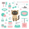 Cute siamese cat in flat design style. Suff set. Paw print, scrathing rope post, bed, shampoo, brush, collar, clew ball, food, pla Royalty Free Stock Photo