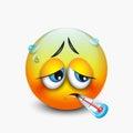 Cute sick emoticon with thermometer, emoji - vector illustration