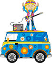 Cute Sixties Hippie Girl Musician on Camper Van