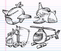 Cute Sketch Doodle Transportation set Stock Image