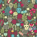 Cute skulls seamless pattern vector background with flowers bones grass and butterflies Stock Images
