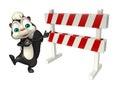 Cute Skunk cartoon character with baracade Royalty Free Stock Photo