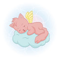 Cute sleeping angel cat an illustration of a contains simple gradients Royalty Free Stock Photo