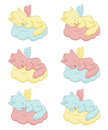 Cute sleeping angel cats an illustration of the Stock Photography