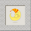 Cute sleeping Moon illustration Royalty Free Stock Photos
