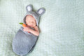Cute sleeping newborn baby dressed like Easter bunny