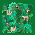 Cute sloths hanging on jungle trees. Hand drawn adorable animal illustration. Rainforest illustration. Funny sloth, toucan,
