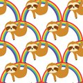 Cute Sloths on the Rainbow Seamless Pattern, sloths Repeat Pattern for textile design, fabric print, fashion or background