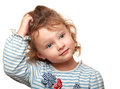 Cute small kid girl thinking and looking isolated potrait Stock Photo