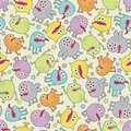 Cute small monsters seamless texture with stars vector pattern space microbes Royalty Free Stock Images