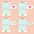 Cute smartphone icons, design elements. Kawaii smiling mobile phone character with speech bubbles and messages, notifications, sms Royalty Free Stock Photo